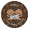 Twin Modern Babies 1 Boy & 1 Girl African American - Personalized Baby Shower Sticker Labels - 24 ct