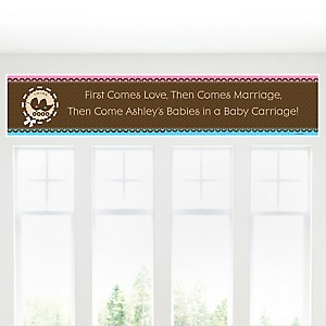 Twin Baby Carriages 1 Boy & 1 Girl - Personalized Baby Shower Banner
