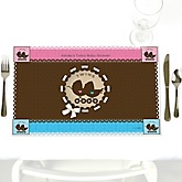Twin Baby Carriages 1 Boy & 1 Girl - Personalized Baby Shower Placemats