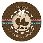 Twin Baby Carriages 1 Boy & 1 Girl - Personalized Baby Shower Round Sticker Labels - 24 Count