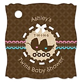 Twin Baby Carriages 1 Boy & 1 Girl - Personalized Baby Shower Tags - 20 Count
