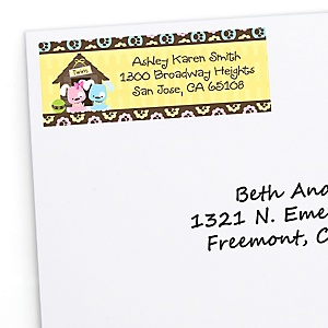 Twin Puppy Dogs 1 Boy & 1 Girl - Personalized Baby Shower Return Address Labels - 30 ct