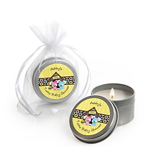 Twin Puppy Dogs 1 Boy & 1 Girl - Candle Tin Personalized Baby Shower Favors