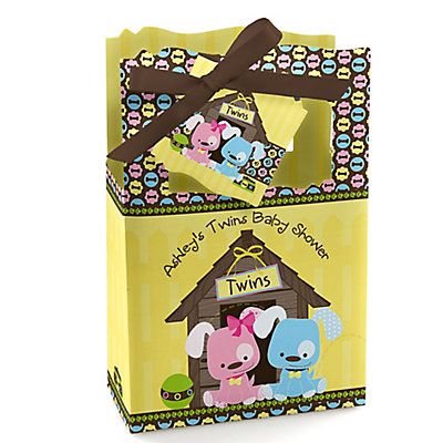 Twin Puppy Dogs 1 Boy & 1 Girl - Personalized Baby Shower Fa...