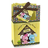 Twin Puppy Dogs 1 Boy & 1 Girl - Personalized Baby Shower Favor Boxes