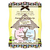 Twin Puppy Dog 1 Boy & 1 Girl - Personalized Baby Shower Vellum Overlay Invitations