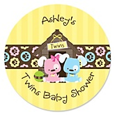 Twin Puppy Dogs 1 Boy & 1 Girl - Personalized Baby Shower Round Sticker Labels - 24 Count