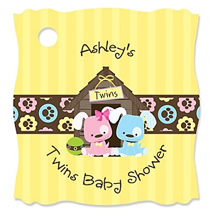 Twin Puppy Dogs 1 Boy & 1 Girl - Personalized Baby Shower Tags - 20 Count