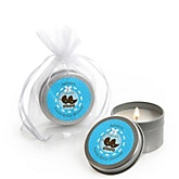 Twin Boy Baby Carriages - Candle Tin Personalized Baby Shower Favors