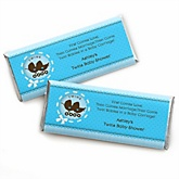 Twin Boy Baby Carriages - Personalized Baby Shower Candy Bar Wrapper
