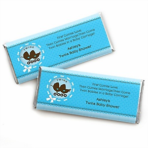 Twin Boy Baby Carriages - Personalized Baby Shower Candy Bar Wrapper Favors