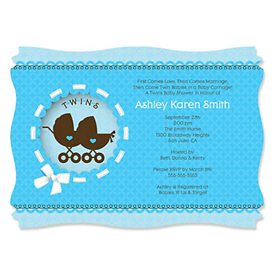 Twin Boy Baby Carriages - Baby Shower Invitations With Squiggle Shape Baby Shower Party Supplies