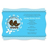 Twin Boy Baby Carriages - Baby Shower Invitations