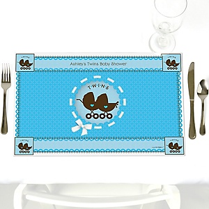 Twin Boy Baby Carriages - Personalized Baby Shower Placemats