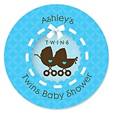 Twin Boy Baby Carriages - Personalized Baby Shower Round Sticker Labels - 24 Count