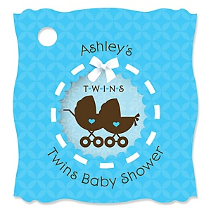 Twin Boy Baby Carriages - Personalized Baby Shower Tags - 20 Count