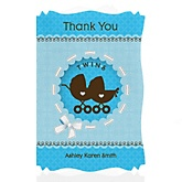 Twin Boy Baby Carriages - Personalized Baby Shower Thank You Cards