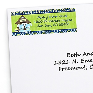 Twin Boy Puppy Dogs - Personalized Baby Shower Return Address Labels - 30 ct