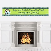 Twin Boy Puppy Dogs - Personalized Baby Shower Banners