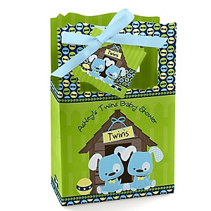 Twin Boy Puppy Dogs - Personalized Baby Shower Favor Boxes