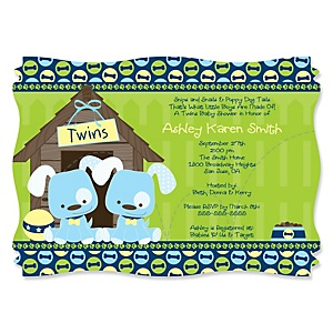 Twin Boy Puppy Dogs - Baby Shower Invitations