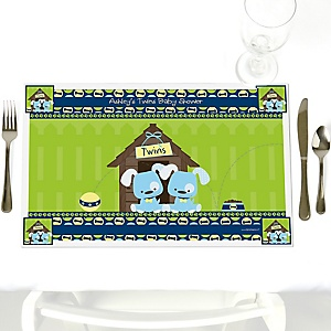 Twin Boy Puppy Dogs - Personalized Baby Shower Placemats
