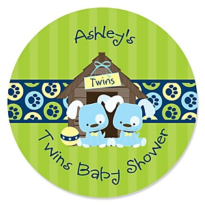 Twin Boy Puppy Dogs - Personalized Baby Shower Round Sticker Labels - 24 Count