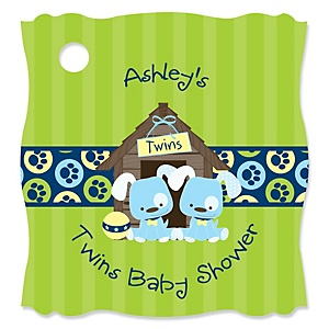 Twin Boy Puppy Dogs   - Personalized Baby Shower Tags - 20 Count