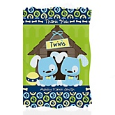Twin Boy Puppy Dogs - Personalized Baby Shower Thank You Cards