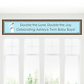 Mommy Silhouette It's Twin Boys - Personalized Baby Shower Banner
