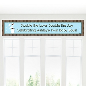 Mommy Silhouette It's Twin Boys - Personalized Baby Shower Banners