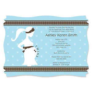 Mommy Silhouette It's Twin Boys - Baby Shower Invitations