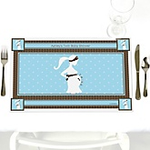 Mommy Silhouette It's Twin Boys - Personalized Baby Shower Placemats