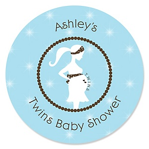 Mommy Silhouette It's Twin Boys - Personalized Baby Shower Sticker Labels - 24 ct