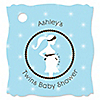 Mommy Silhouette It's Twin Boys - Personalized Baby Shower Tags - 20 ct