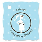 Mommy Silhouette It's Twin Boys - Personalized Baby Shower Tags - 20 Count