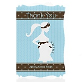 Mommy Silhouette It's Twin Boys - Personalized Baby Shower Thank You Cards