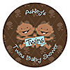 Twin Modern Baby Boys African American - Personalized Baby Shower Sticker Labels - 24 ct