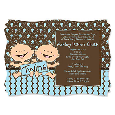 Twin Modern Baby Boys Caucasian - Personalized Baby Shower Invitations With Squiggle Shape Baby Shower Party Supplies