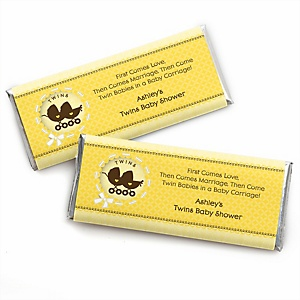 Twin Neutral Baby Carriages - Personalized Baby Shower Candy Bar Wrapper Favors