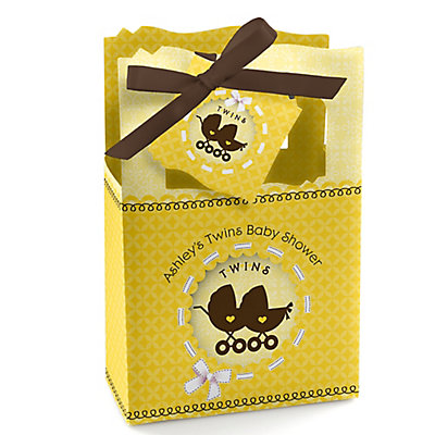Twin Neutral Baby Carriages - Personalized Baby Shower Favor...