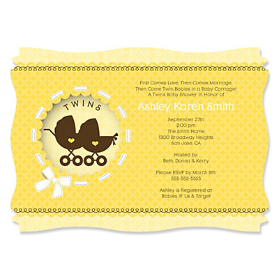 Twin Neutral Baby Carriages - Personalized Baby Shower Invitations Baby Shower Party Supplies