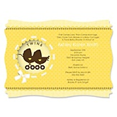 Twin Neutral Baby Carriages - Baby Shower Invitations