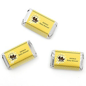 Twin Neutral Baby Carriages - Personalized Baby Shower Mini Candy Bar Wrapper Favors - 20 ct