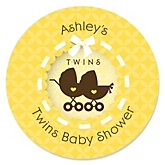 Twin Neutral Baby Carriages - Personalized Baby Shower Sticker Labels - 24 ct