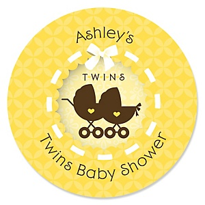 Twin Neutral Baby Carriages - Personalized Baby Shower Round Sticker Labels - 24 Count