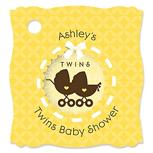 Twin Neutral Baby Carriages - Personalized Baby Shower Tags - 20 Count