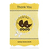 Twin Neutral Baby Carriages - Personalized Baby Shower Thank You Cards