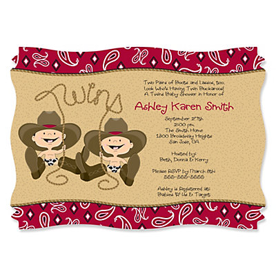 Twin Little Cowboys   Western Personalized Baby Shower Invitations