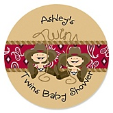Twin Little Cowboys - Personalized Baby Shower Round Sticker Labels - 24 Count